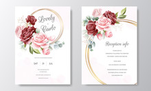 Beautiful Hand Drawn Floral Wedding Invitation Card Template