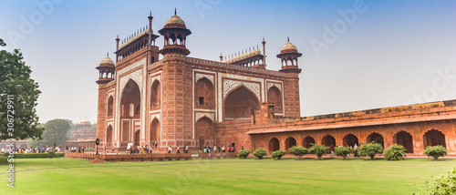 Panorama of the entrance gate to the Taj Mahal in Agra, India Canvas Print