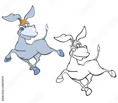 Vector Illustration of a Cute Cartoon Character Burro for you Design and Computer Game. Coloring Book Outline Set