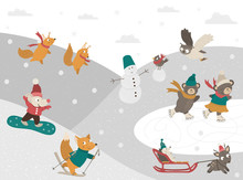 Winter Scene With Forest Animals Doing Sport Activities. Vector Illustration Of Cute Woodland Characters Playing Snowballs, Tubing, Skating, Skiing, Snowboarding, Building A Snowman..
