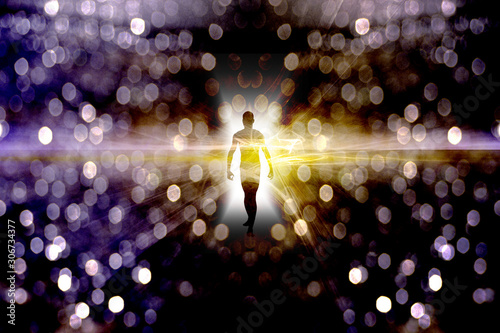 Eternal Soul. Bright aura or human silhouette in endless space Canvas Print