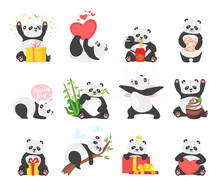 Cute Pandas Flat Illustrations...