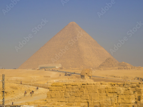 View of the Great Sphinx and the Great Pyramid of Giza. In Cairo, Egypt