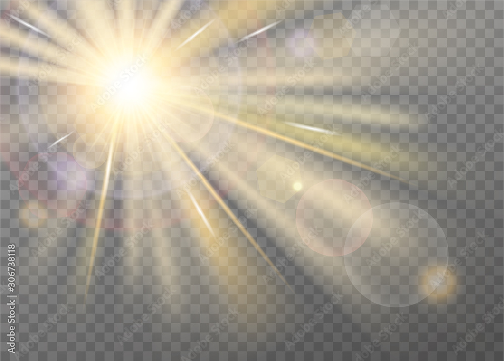 Fototapeta Shining sunlight blurred vector effect on transparent background. Front light warm radiance with lens glare, with radial purple halo and straight yellow stellar rays. Searchlight or spotlight decor