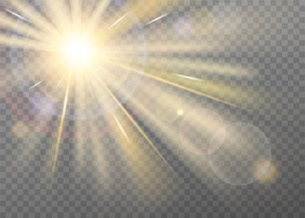 Shining sunlight blurred vector effect on transparent background. Front light warm radiance with lens glare, with radial purple halo and straight yellow stellar rays. Searchlight or spotlight decor
