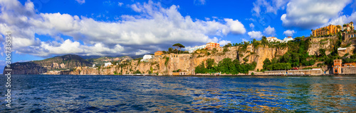 Panoramic view of Sorrento town, picturesque Bay of Naples in souhern Italy