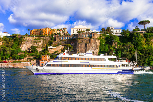 Travel in Italy - ferry boat in Sorrento coastal town, Naples bay