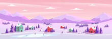 Panoramic Vector Illustration Of Winter Wonderland. The Cute Small Village In Christmas Day With Snow. Kids Playing Outside With Snowman And Snowball.Minimal Winter Landscape