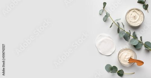 Fototapeta Organic creams with olive oil for face and body obraz na płótnie