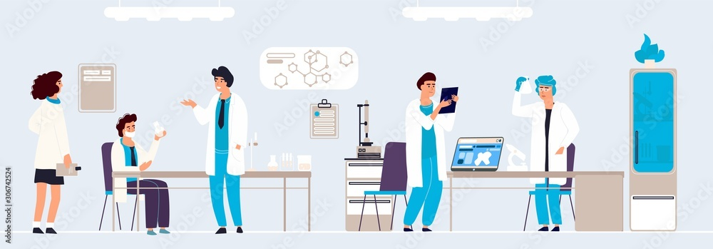 Fototapeta Scientific research. Cartoon people in lab doing analysis and experiment, hand drawn lab interior and equipment. Vector background isometric doctor in white coats working on professionals equipment