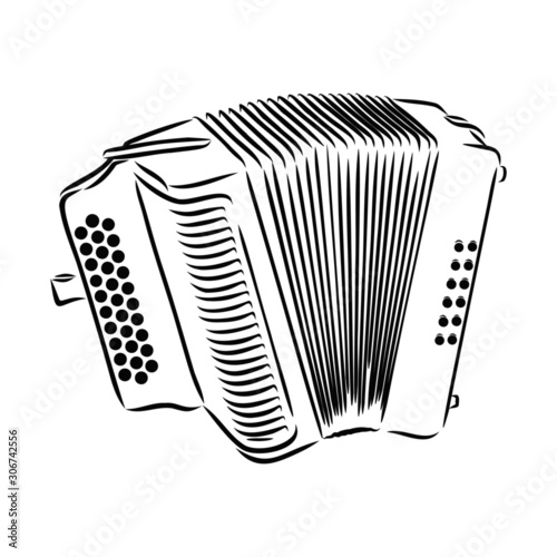 accordion isolated on white background Canvas Print