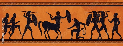 Fototapeta Ancient Greece scene. Historic mythology silhouettes with gods and centaurs, figures and pattern for ancient amphora. Vector mythological image art ancients amphoras ornaments obraz