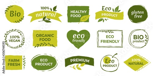 eco logo organic healthy food labels and vegan products badge nature farmed food tags vector design elements image gluten free and bio stickers or green tag natures quality buy this stock eco logo organic healthy food labels