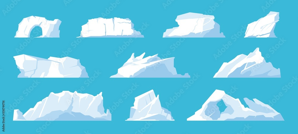 Fototapety, obrazy: Icebergs. Arctic and North Pole landscape elements, melting ice mountains and glaciers, snow caps and freeze ocean. Vector set illustration ice mountain in travelling on Antarctica