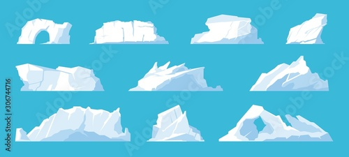 Obraz Icebergs. Arctic and North Pole landscape elements, melting ice mountains and glaciers, snow caps and freeze ocean. Vector set illustration ice mountain in travelling on Antarctica - fototapety do salonu