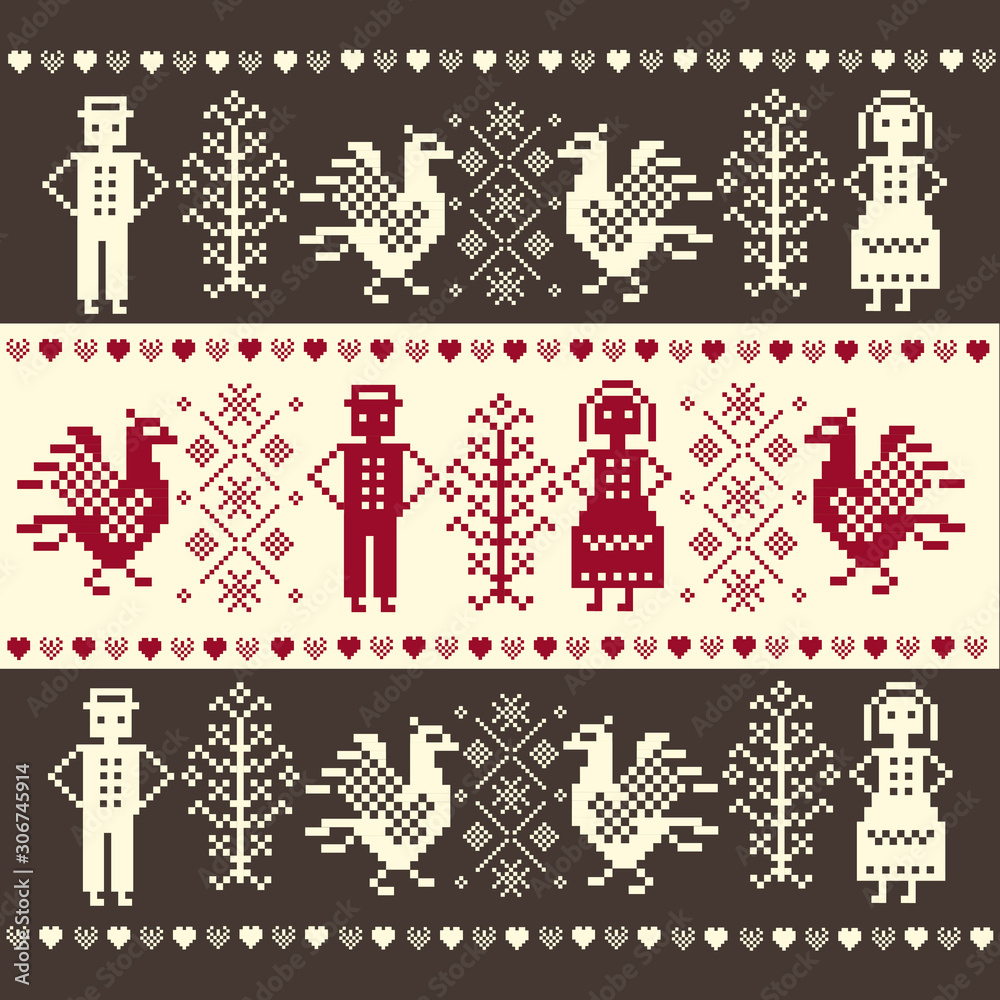 Polish fabric pattern inspired by Podlasie folk art - a pattern with people, birds on a red background
