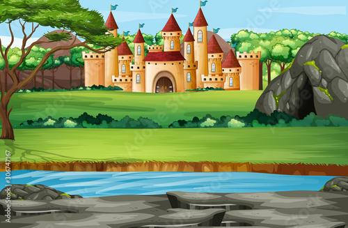 Fototapeta Scene with castle towers in the park obraz