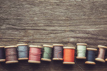 Row Of Vintage Wooden Spools O...