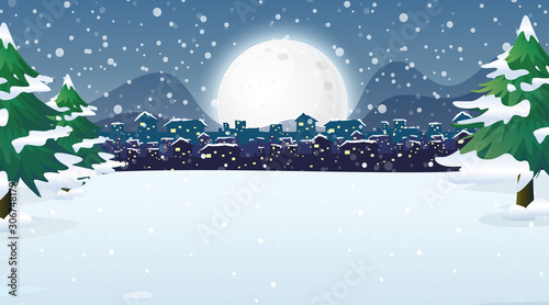 Canvas Prints Kids Scene with city in the snowy night