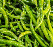 Fresh Green Chili Pepper At Vegetable Market