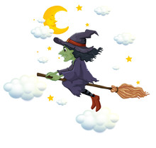 Green Witch On Flying Broom At...