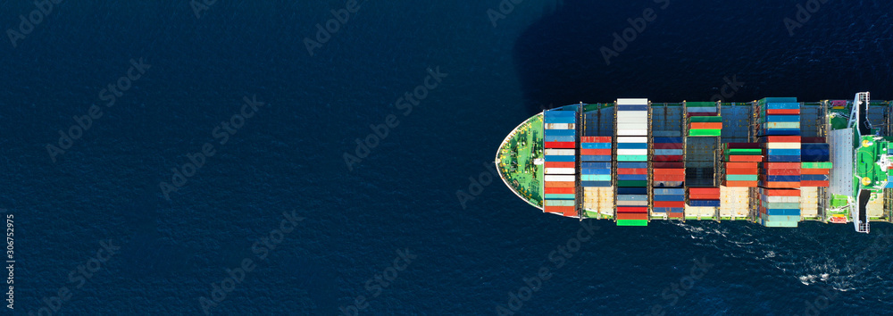 Fototapeta Aerial drone panoramic ultra wide photo of industrial container tanker ship cruising in open ocean deep blue sea