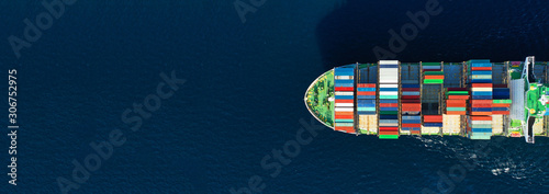 Obraz Aerial drone panoramic ultra wide photo of industrial container tanker ship cruising in open ocean deep blue sea - fototapety do salonu