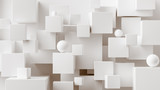 Abstract geometric background. Overlapping white 3d squares. 3d rendering cubic minimal composition for corporate design template.