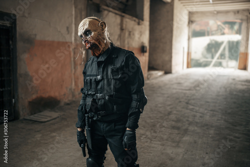 Photo  Male zombie walking in abandoned factory