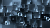 Abstract geometric background. Overlapping metallic and glass 3d cubes and spheres. 3d rendering cubic minimal composition for corporate design template.