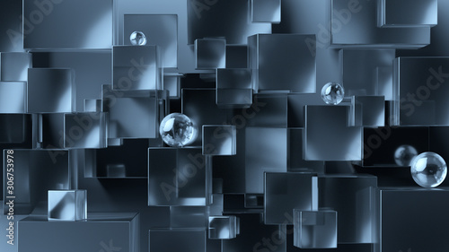 Fototapeta Abstract geometric background. Overlapping metallic and glass 3d cubes and spheres. 3d rendering cubic minimal composition for corporate design template. obraz