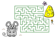 Maze Game With Cartoon Mouse A...