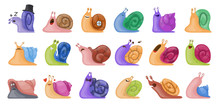 Animal Of Snail Vector Set Ico...