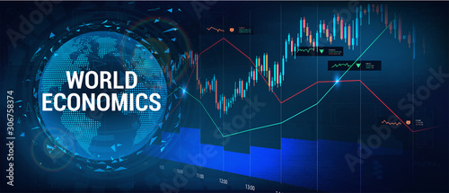 Fototapeta Stock market, forex and world investment with 3D Earth Globe and graphic and charts elements. Financial investment and economic trends. Trading Platform. Business design, economic artwork. Vector  obraz