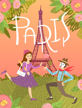 Paris Vector Illustration. Cute Picture With The Eiffel Tower, Girl And Mime.