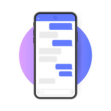 Smart Phone With Messenger Chat Screen. Modern Vector Illustration Flat Style