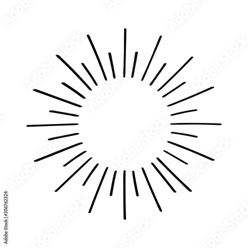 Fototapeta Hand drawn cartoon water explosion doodle. Diferent rays. Vector illustration obraz na płótnie
