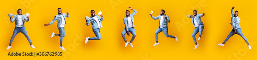 Photo Collage of funny afro guy jumping in air on yellow background