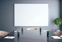 Meeting Room With Empty Billboard
