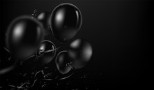 Vector Festive Illustration Of Flying Realistic Glossy Black Balloons. Black Balloon Bunch With Black Confetti Glitters. Decoration Element For Holiday Event Invitation Design
