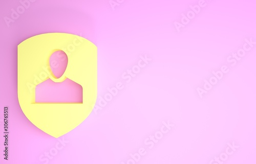 Yellow User protection icon isolated on pink background Canvas Print