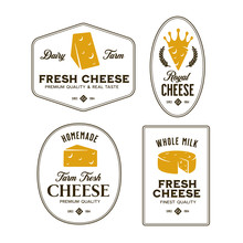 Cheese Labels Set. Vector Vintage Illustration.