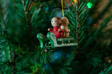 Antique Wooden Sled Christmas Ornament