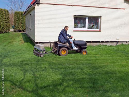 Fotografering Lawn aeration 3