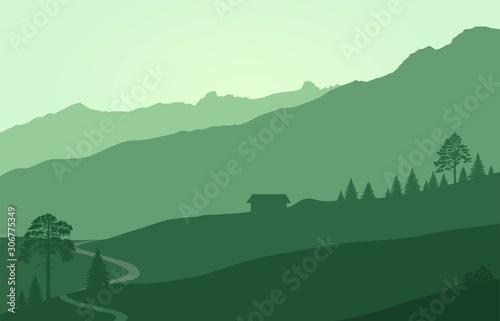Foto auf AluDibond Olivgrun Mountains landscape with rocks and coniferous trees. flat background landscape
