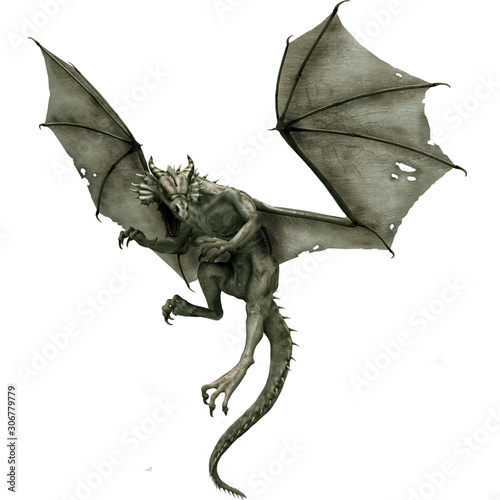 Obraz na plátne gray dragon flying dragon fantasy animal Mythological creature