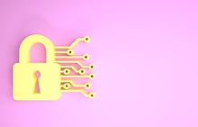 Yellow Cyber Security Icon Iso...