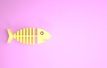 Yellow Fish Skeleton Icon Isol...