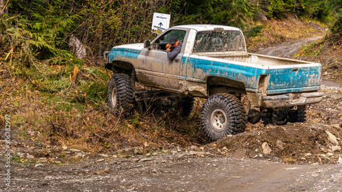British Columbia, Canada. Off-road monster truck in the forest. Tablou Canvas
