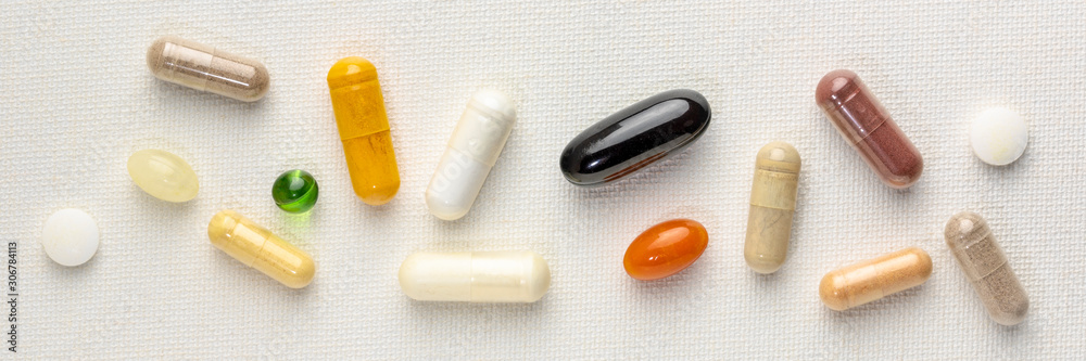 Fototapeta vitamins and supplements background